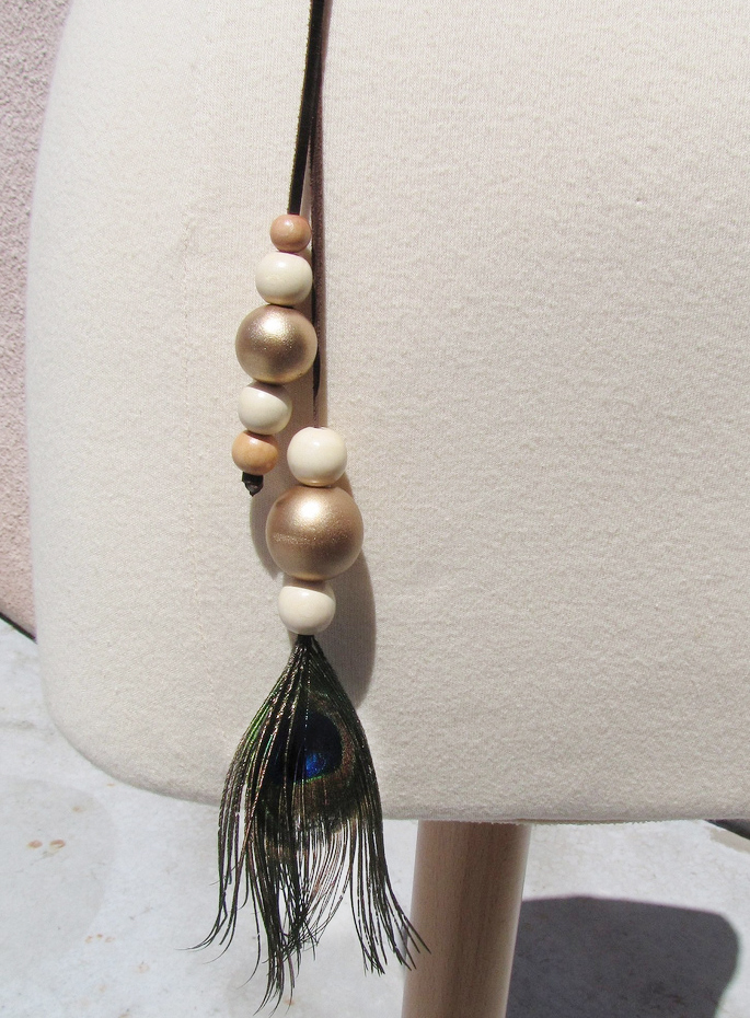 leather beaded peacock lariat necklace belt