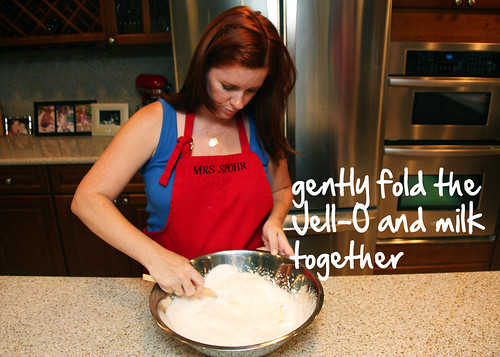 fold the Jell-O and milk together