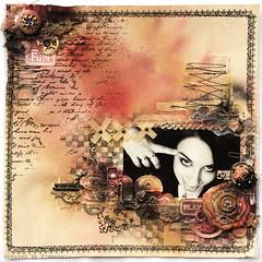 She - grungy Prima &TA (finnabair) Tags: scrapbooking layout grunge canvas page prima tatteredangels