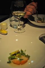 Attica (Kat n Kim) Tags: food glass table restaurant dish wine egg australia melbourne victoria shellfish vic marron leek tabletop yolk ripponlea modernaustralian newzealandchef
