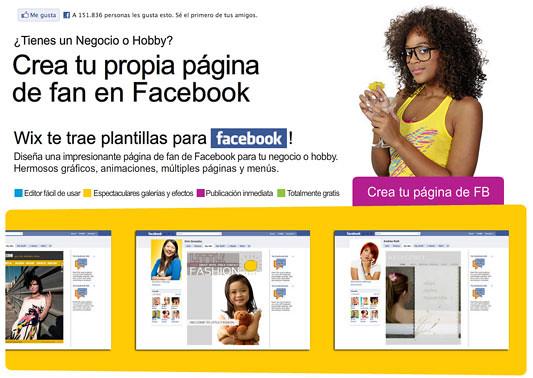 Pagina para facebook gratis con Wix