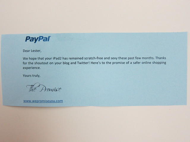 Nice Note From PayPal