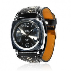 Exquisite Unisex Quartz Wrist Watch Timepieces with Synthetic Leather Band & Round Case