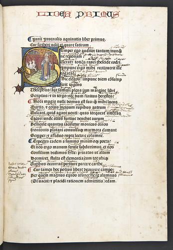 Historiated initial in Juvenalis, Decimus Junius: Satyrae