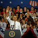 President Barack Obama waves to the crowd as he takes to the podium.