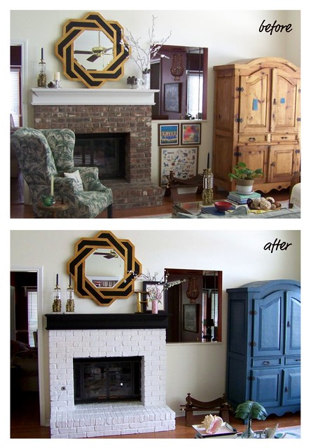 before and after fireplace/armoire
