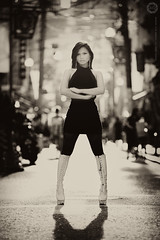 The boots.... (Alfie | Japanorama) Tags: sea blackandwhite woman monochrome beautiful japan lady asian glasses coast pier nikon pretty chinatown promenade yokohama classy nikkor80200mmf28 d700 irishkashima womeninshades