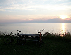 Lake Erie Sunset (MtnBkr2009) Tags: sunset beach nature outdoors lakeerie mountainbike trail mountainbiking singletrack