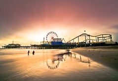 Sunset at the Pier (California CPA) Tags: park sunset party mist cold reflection fall beach wheel night clouds fun lumix pier santamonica ferris olympus panasonic enjoy g3 rollercoster 918mm dmcg3