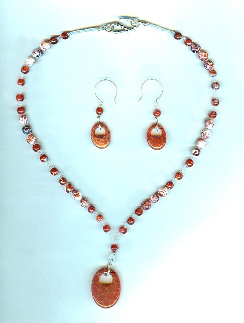 Fashion Jewelry Set : Blazing Fire Crackle Agate Pendants and Beads