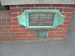Photo of John Leavers grey plaque