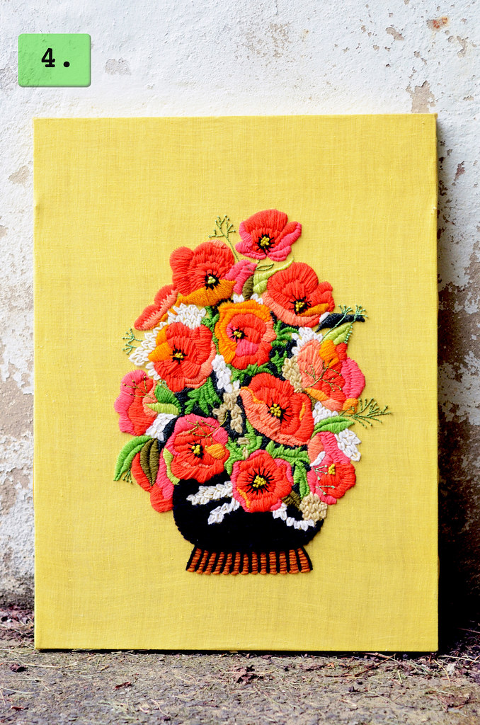 Vintage Crewel Embroidery--Floral Arrangement