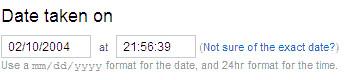 Screenshot of date taken area