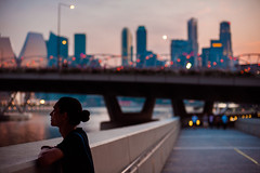Twilight (TGKW) Tags: people portrait boy man arab mixed hanz silhouette promenade city skyline bridge bokeh skyscrapers river singapore night nightlife sky colours 0289