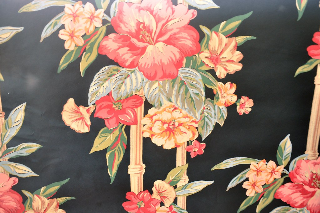 Black Floral and Bamboo Pattern Wallpaper