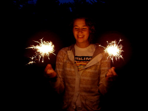 Sparklers with Auntie Bailey