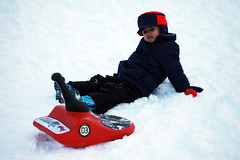 Sledding... what a drag! (SingleDadLaughing) Tags: noah boy snow fall funny child crash angry sledding grumpy