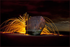 Baltry Shipwreck Light Painting - Front page EXPLORE (Elaine Hughes) Tags: ireland seascape lightpainting beach rust ship eire explore shipwreck hull frontpage 39 louth trader flickrexplore baltry ebhphotography baltryshipwreck