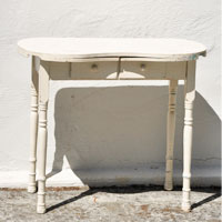 Vintage White Curved Desk by Over The Moon Vintage Rentals