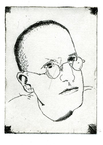 self portrait with scratch - etching