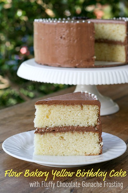 ... Bakery Yellow Birthday Cake with Fluffy Chocolate Ganache Frosting