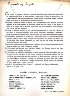 Circolare della Commissione soccorso, 3 aprile 1848