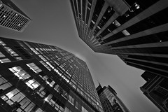 [Free Image] Architecture / Building, Tall Building, Black and White, United States of America, 201108270500