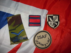 royal engineers rank slide and royal engineers TRF (tactical recognition flash) and 16th air assault badge and ISAF badge (militaria collector) Tags: royal slide trf rank engineers