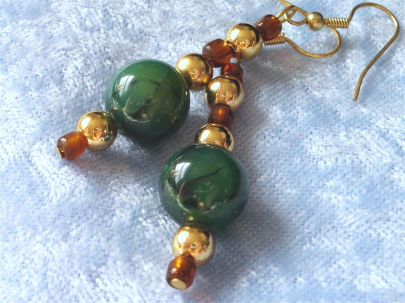 Green Fire Agate Gemstone Earrings
