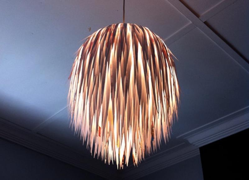 DIY Scrap paper lamp light Design Sponge tutorial 3