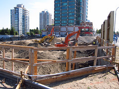 View from the west from Willingdon (D70) Tags: from canada west feet skyline cat fence bc view hole august safety highrise burnaby to rise metrotown hitachi underway sovereign excavator excavation 511 2011 willingdon 330lc ex300 ex400lc ex310h 45storeys