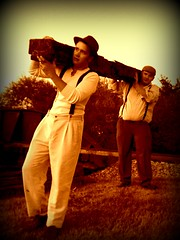 Rail Workers (Michelle.12) Tags: old railroad boys sepia train tie carry