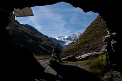 Tunnels at Lac des Dix with Mont Blanc de Cheilon in the background Photo