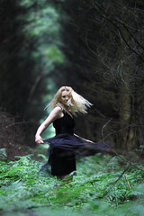 Rain Dancer (ClaudiaJR) Tags: wood portrait woman black green beautiful rain female forest dress blond twirl ethereal dreamy