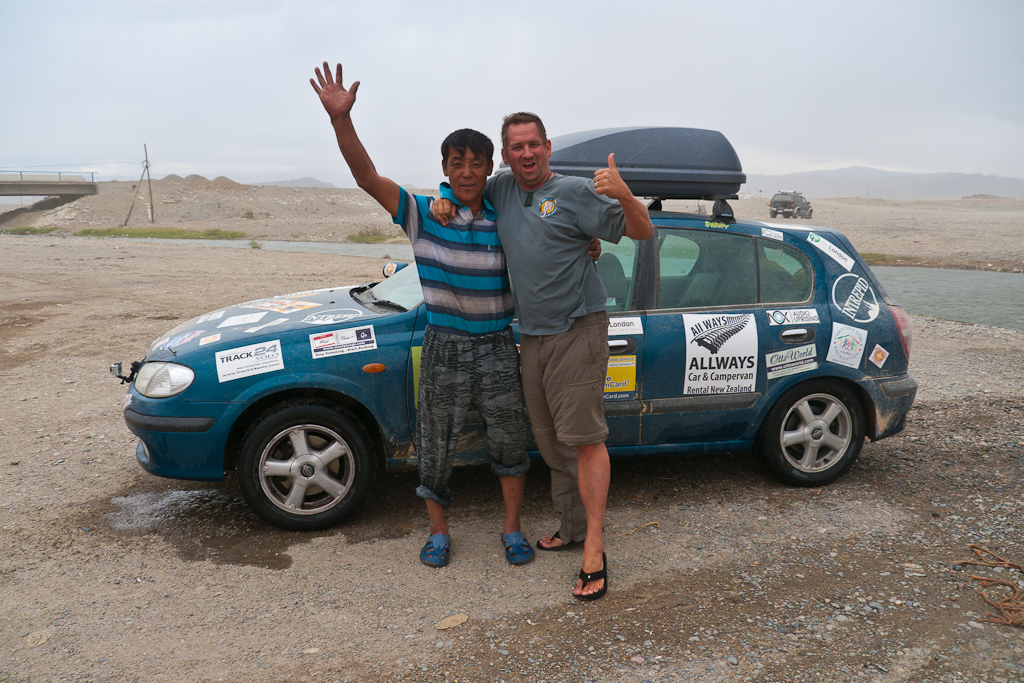 mongol rally participant with local