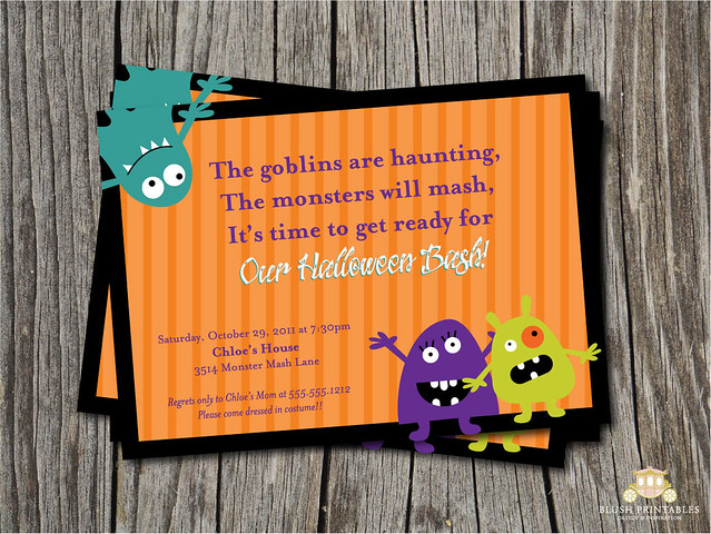 5x7 Monster Mash Party Printable - DIY - Kids Party Invitation