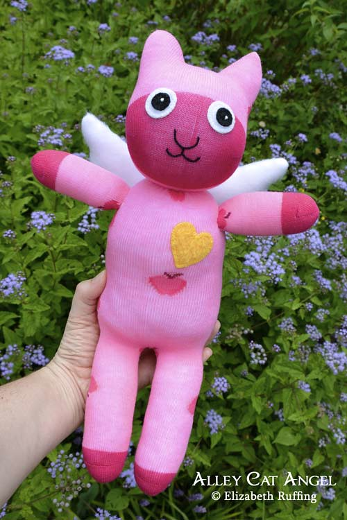 Pink Alley Cat Angel Sock Kitten by Elizabeth Ruffing