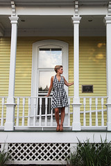 Ashley (rachelbujalski) Tags: fashion model yellowhouse updo frenchtwist checkereddress