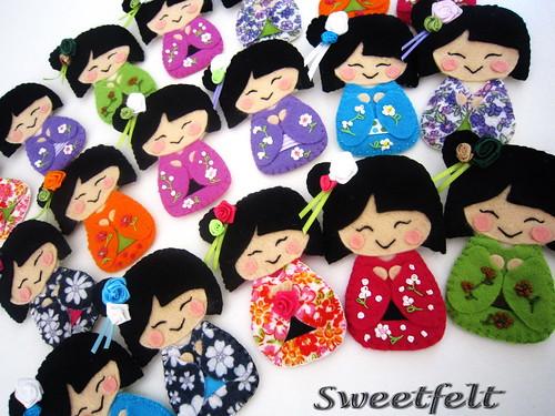 ♥♥♥ Pregadeiras Gueixanoskas!! Coloridas e sorridentes!! by sweetfelt \ ideias em feltro
