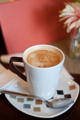 Coffee time (Malicious Fairy) Tags: pink brown flower cup coffee table milk break drink sugar enjoy latte