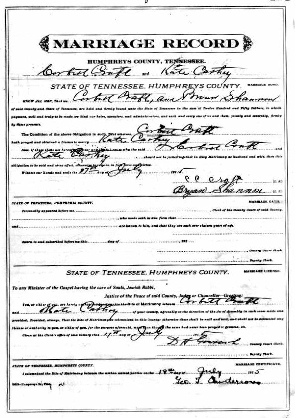Katie Clady Cathey and Henry Corbett Craft Marriage Certificate