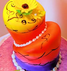 Anita (757's Deeva) Tags: pink orange black yellow cake purple sunflower airbrush topsyturvy fondant