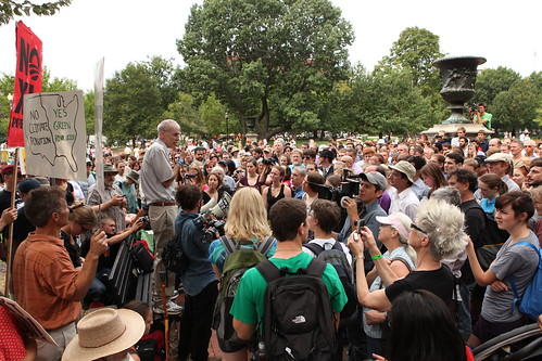 Bill McKibben addressing crowd on final day