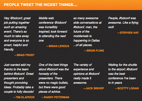 People tweet the nicest things: quotes from Brad, Brian, Brian, Stephen, Jac, Scott, Tim, and Randy