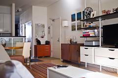 entertainment unit (jenschuetz) Tags: wood ikea leather vintage cozy furniture livingroom textiles interiordesign midcenturymodern redecoration cb2 warmtones roomandboard mixingtextures