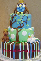 Three tier blue, green and brown stripes and polka dots baby shower cake with tree, owl, teddy bear and bunny (arteatsbakery) Tags: birthday wedding baby sc cake modern ga groom nc unique columbia bakery custom greenville clemson spartanburg fondant simpsonville