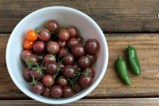 black cherry tomatoes and mild jalapenos
