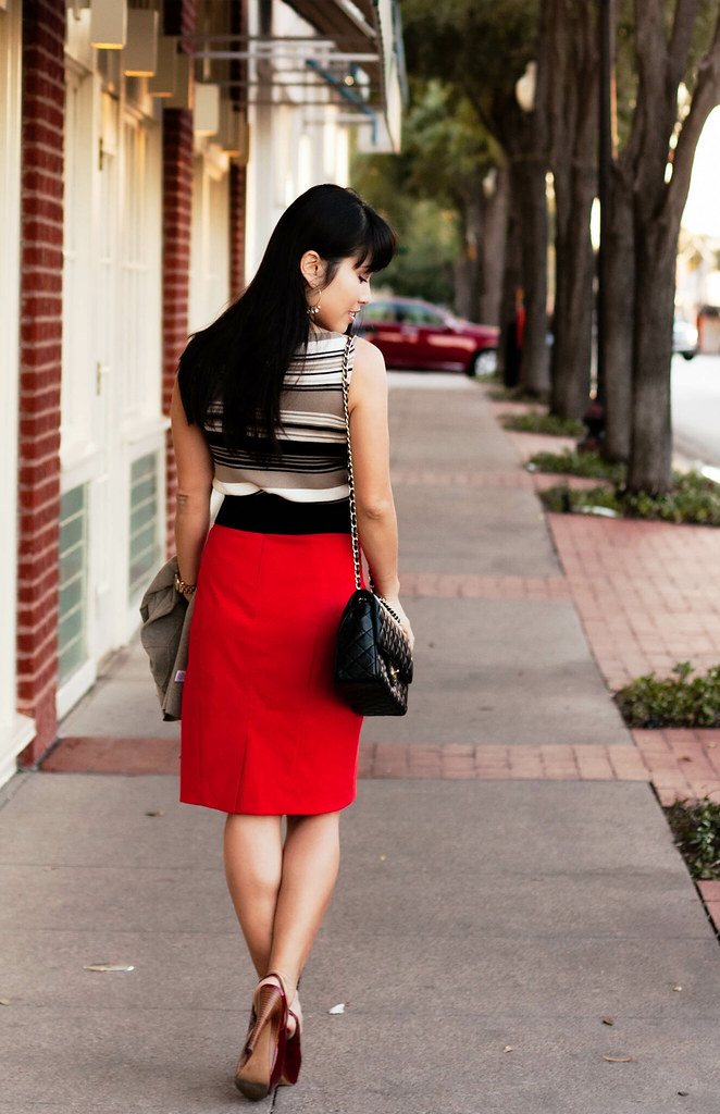 the limited striped tank, the limited orange poppy red pencil skirt, jessica simpson chili pepper red astor slingback, mk5430, chanel classic m/l flap, urban outfitters kimchi blue bow belt, t+j designs dangle stone gold hoop earrings, banana republic zipper trim cardigan