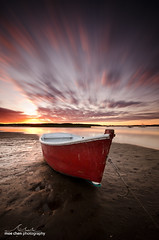 Exploding Boat (moe chen) Tags: ocean sunset red seascape beach pine point landscape boat movement fisherman sand long exposure maine sigma atlantic moe scarborough 1020mm coulds chen dinghy