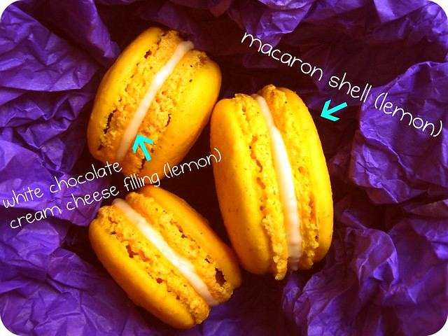 lemon macaron with white chocolate cream cheese filling